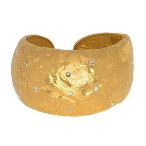 Kenneth Jay Lane Satin Gold & Crystal Cuff
